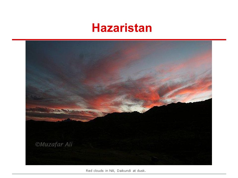 Hazaristan Red clouds in Nili, Daikundi at dusk.