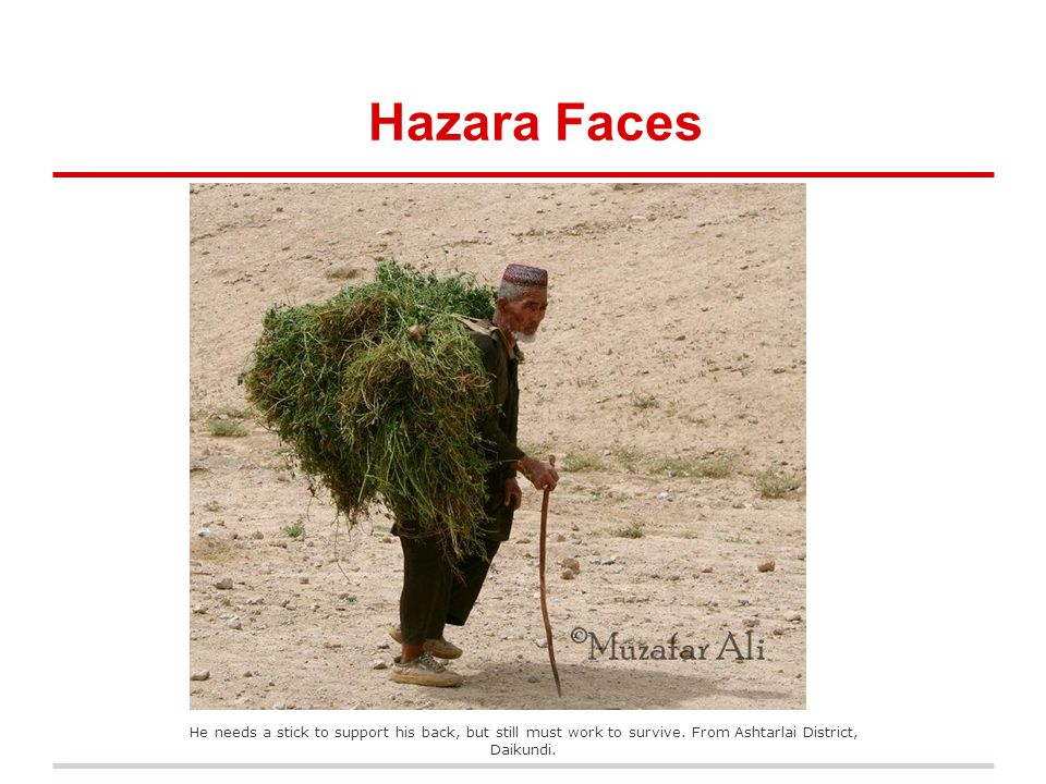 Hazara Faces He needs a stick to support his back, but still must work to survive.
