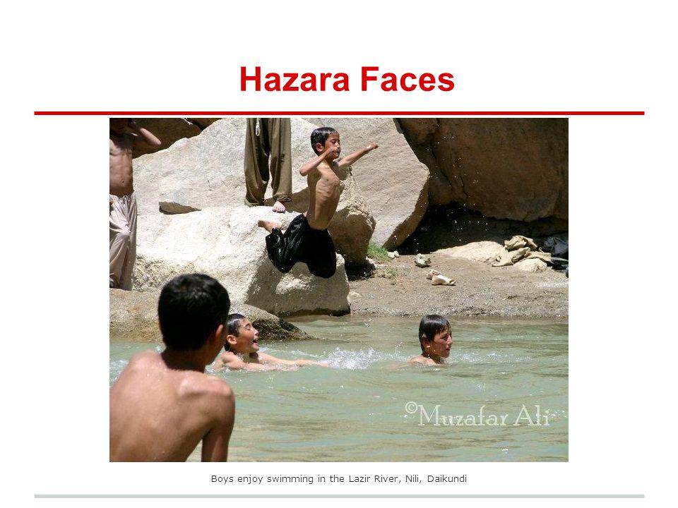 Boys enjoy swimming in the Lazir River, Nili, Daikundi