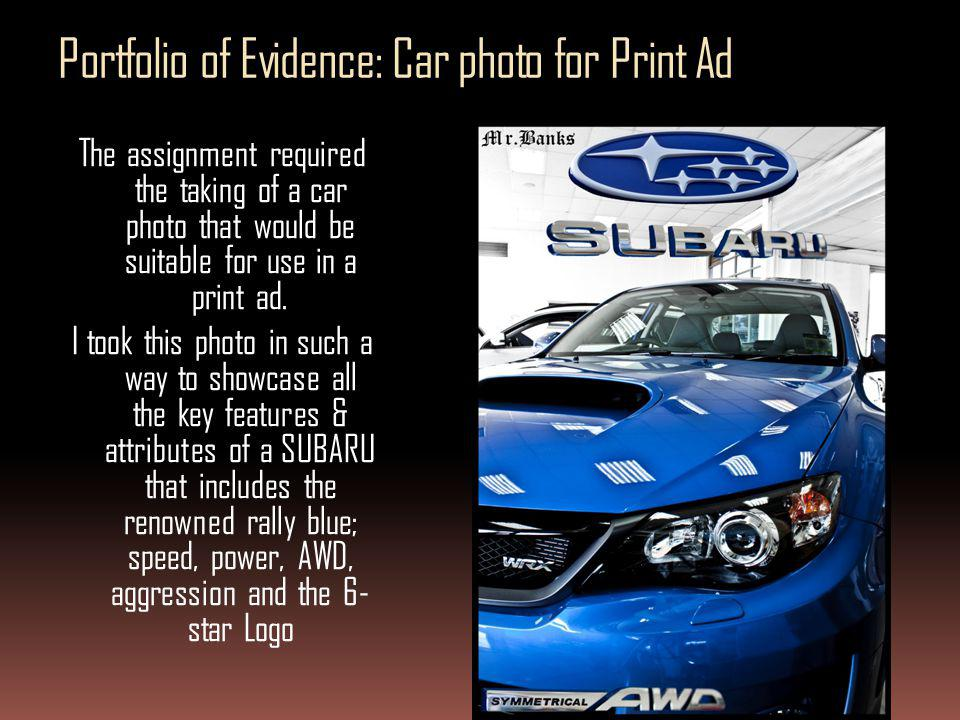 Portfolio of Evidence: Car photo for Print Ad