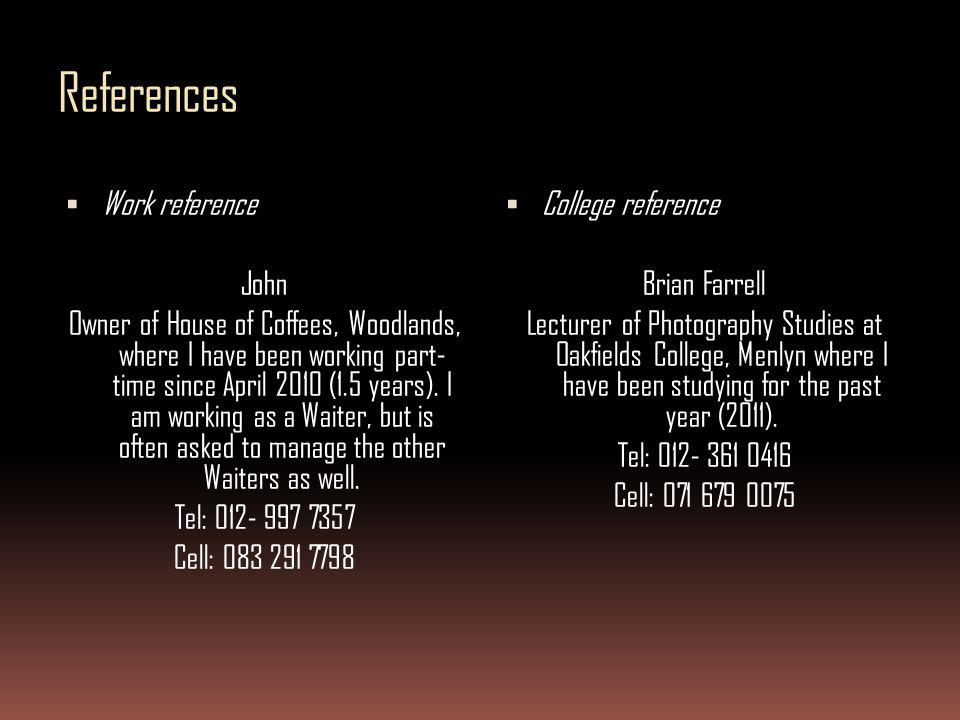 References Work reference John