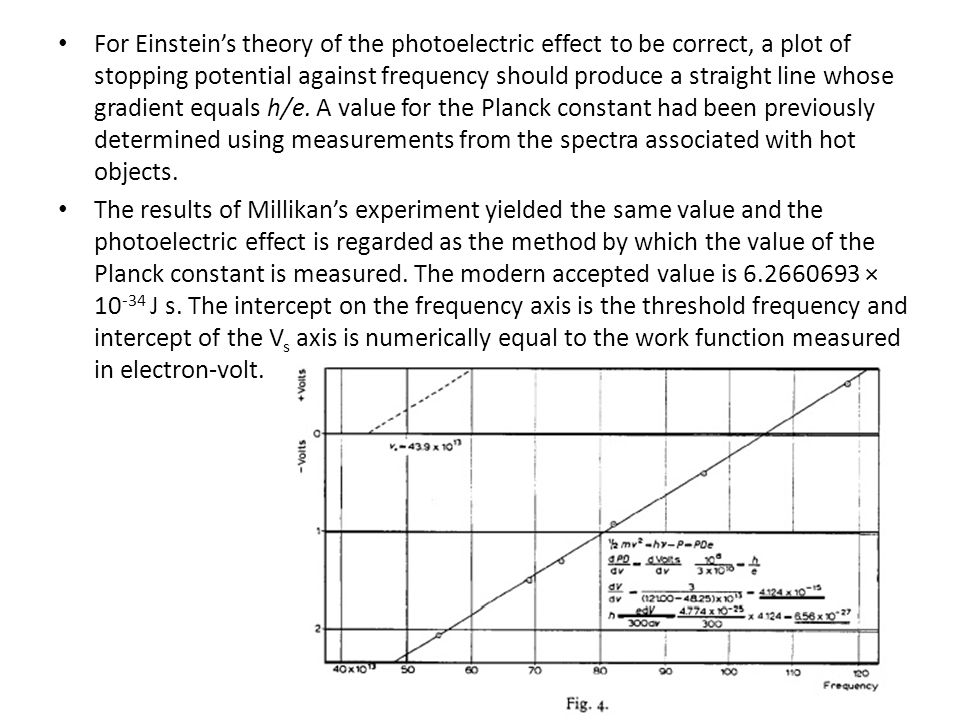 For Einstein's theory of the photoelectric effect to be correct, a plot of stopping potential against frequency should produce a straight line whose gradient equals h/e. A value for the Planck constant had been previously determined using measurements from the spectra associated with hot objects.
