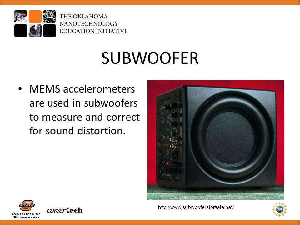 SUBWOOFER MEMS accelerometers are used in subwoofers to measure and correct for sound distortion.