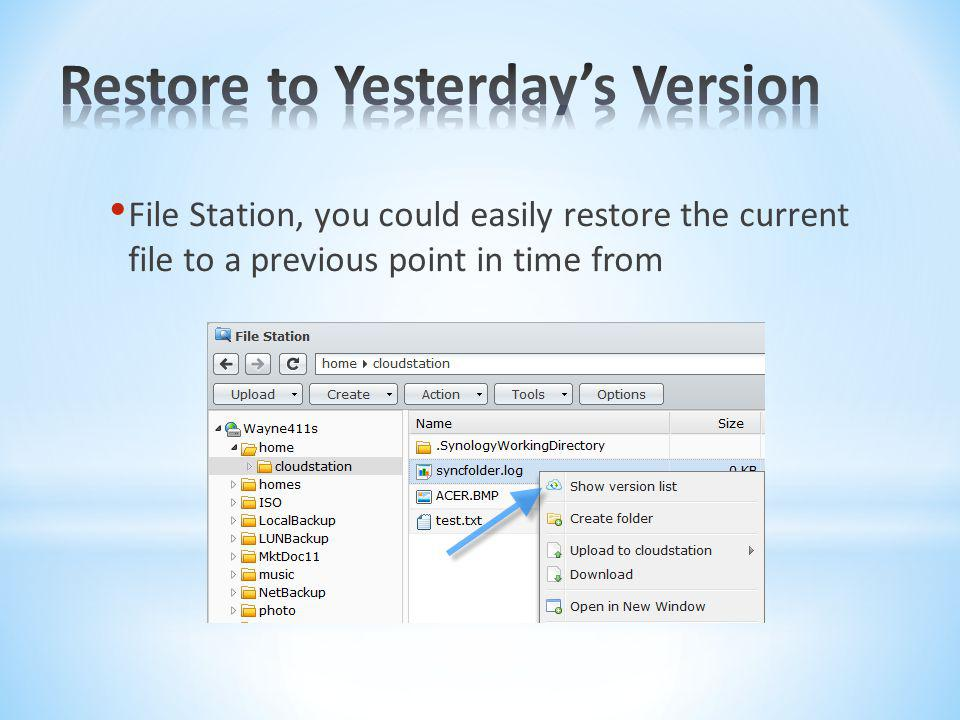 Restore to Yesterday's Version