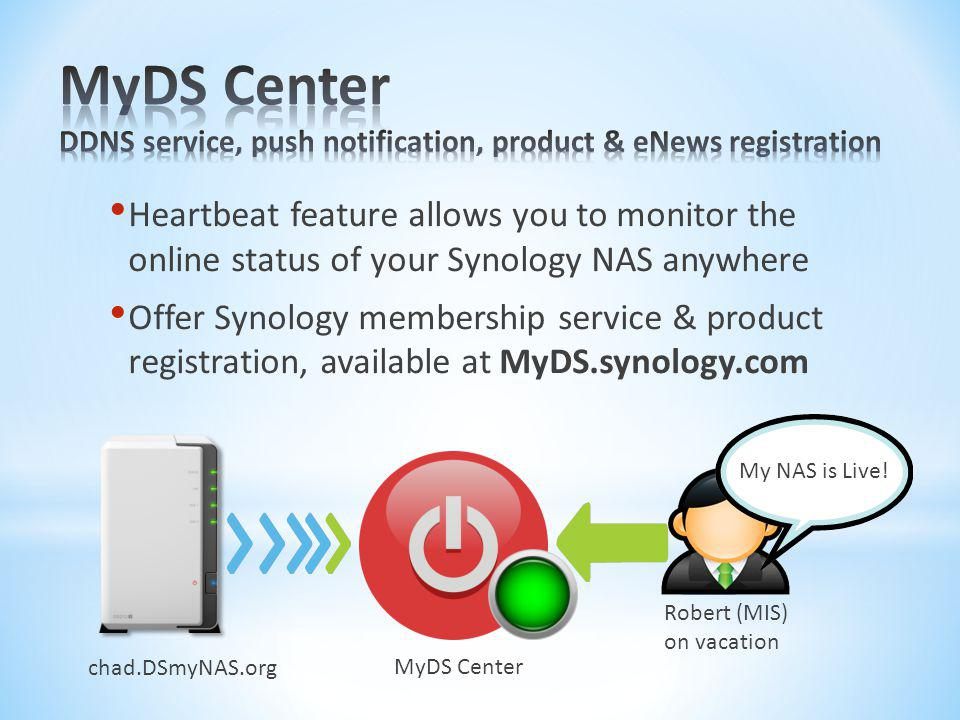MyDS Center DDNS service, push notification, product & eNews registration