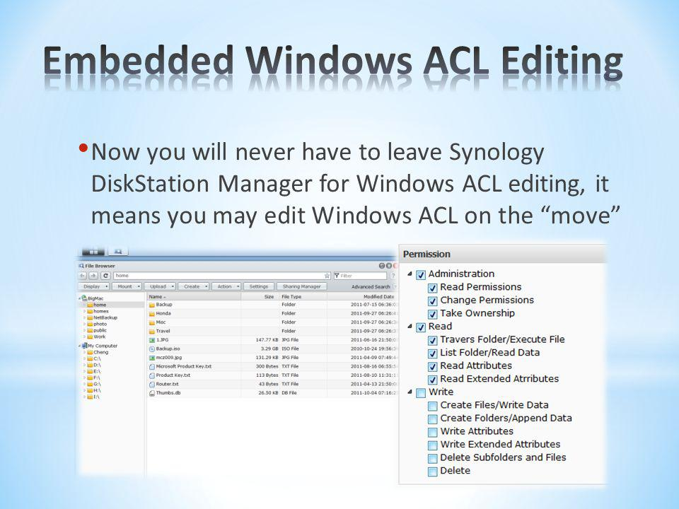 Embedded Windows ACL Editing