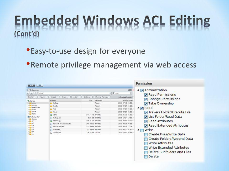 Embedded Windows ACL Editing (Cont'd)