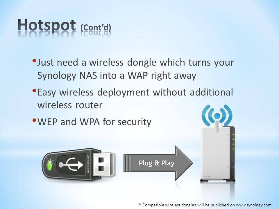 Hotspot (Cont'd) Just need a wireless dongle which turns your Synology NAS into a WAP right away.