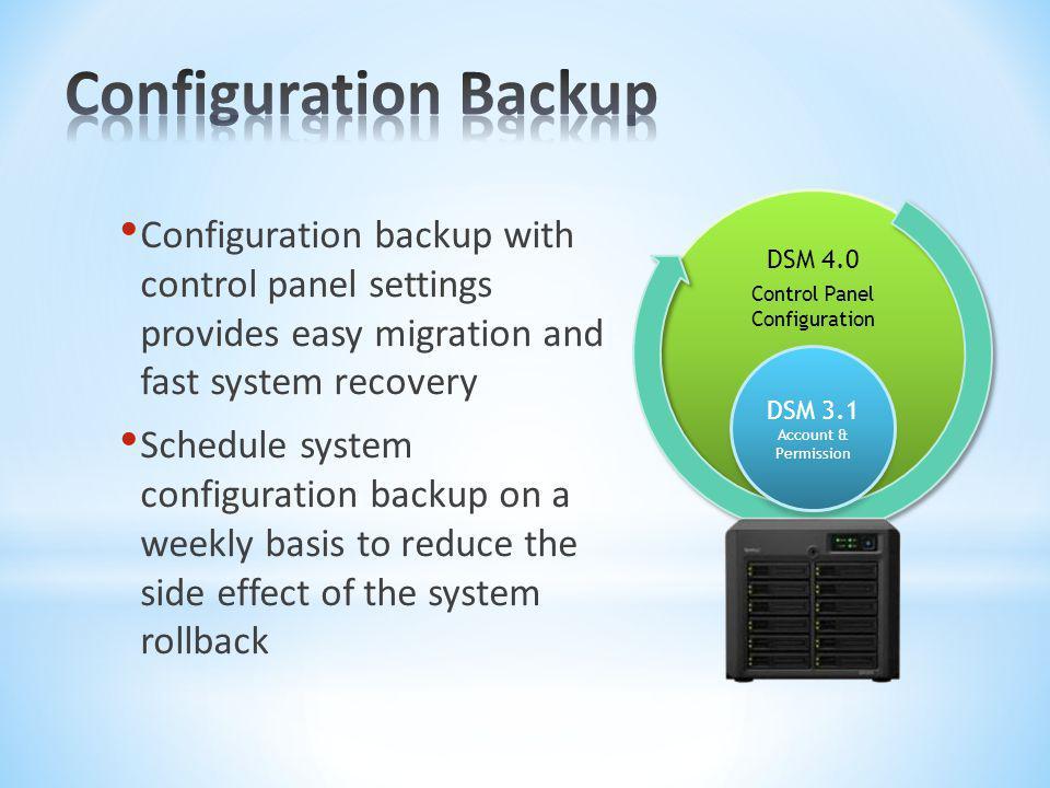 Configuration Backup DSM 4.0. Control Panel Configuration.