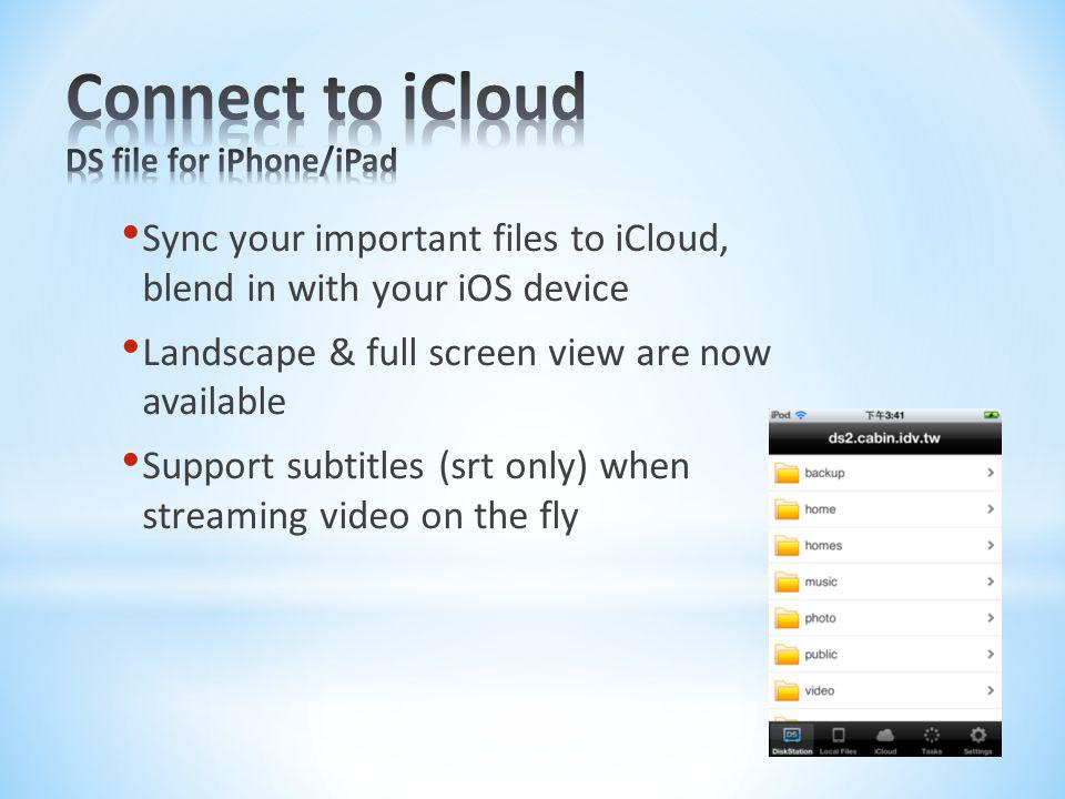 Connect to iCloud DS file for iPhone/iPad