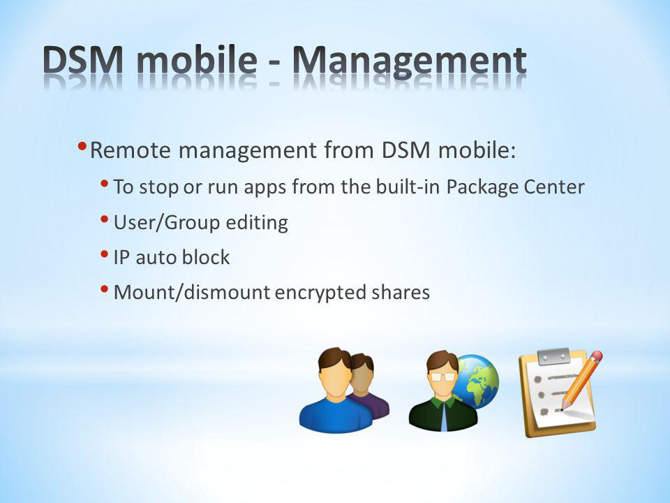 DSM mobile - Management