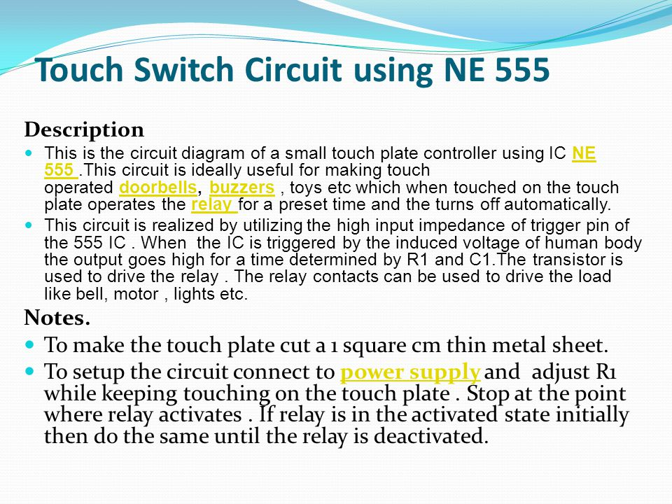 Touch Switch Circuit using NE 555