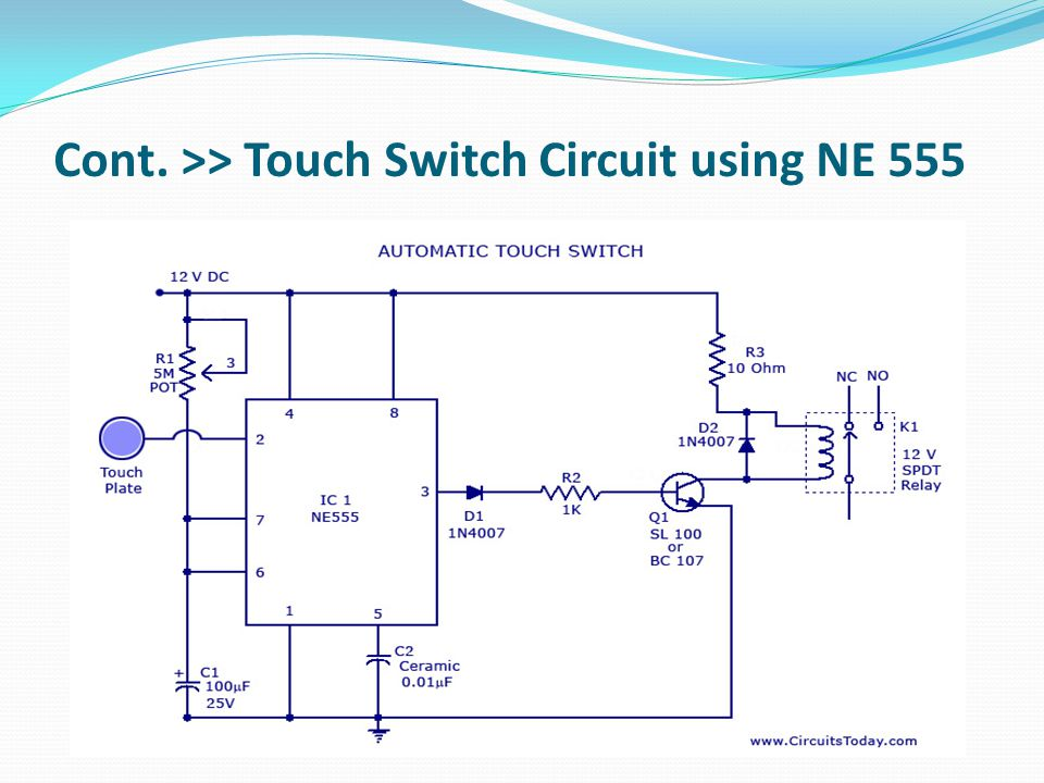 Cont. >> Touch Switch Circuit using NE 555
