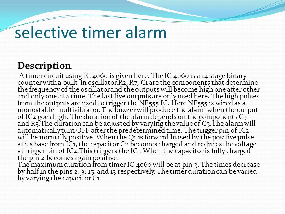 selective timer alarm Description.