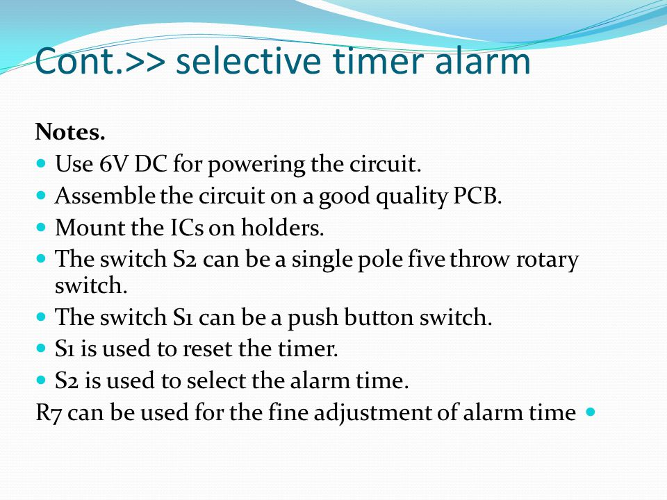 Cont.>> selective timer alarm
