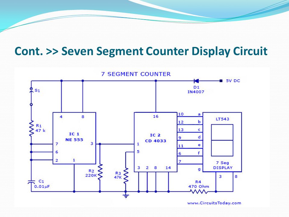 Cont. >> Seven Segment Counter Display Circuit