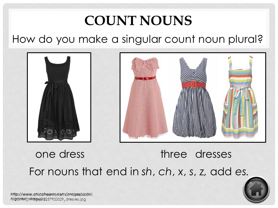 Count Nouns How do you make a singular count noun plural one dress
