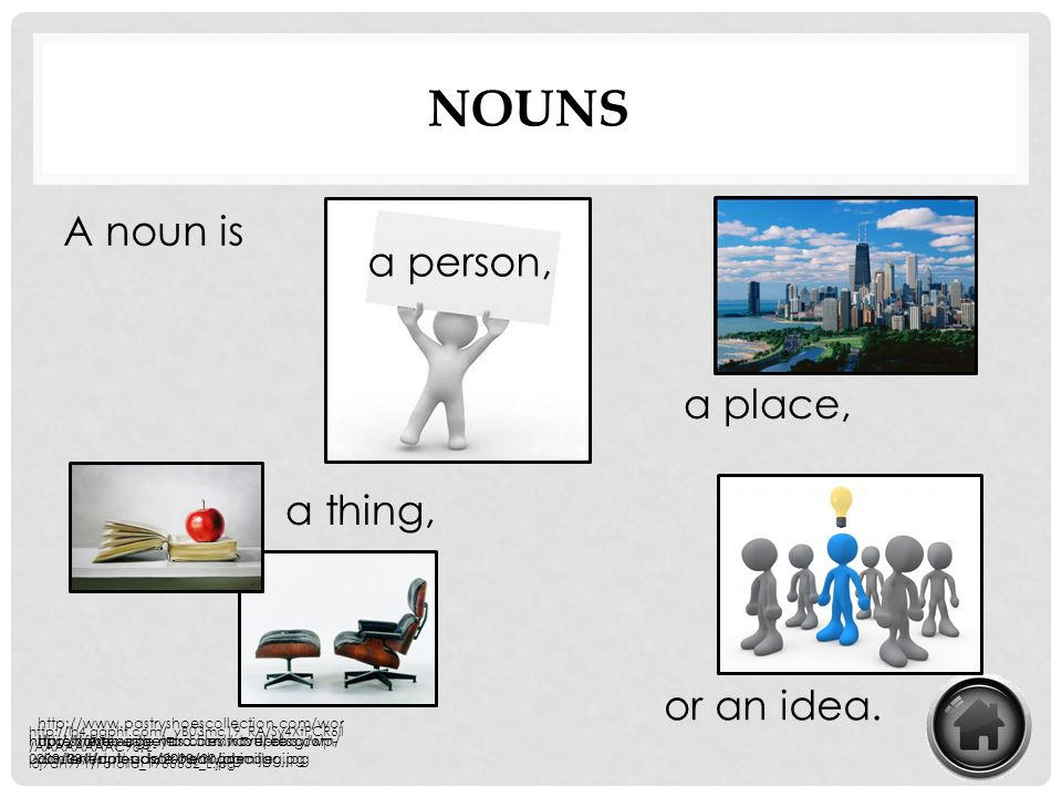 Nouns A noun is a person, a place, a thing, or an idea.