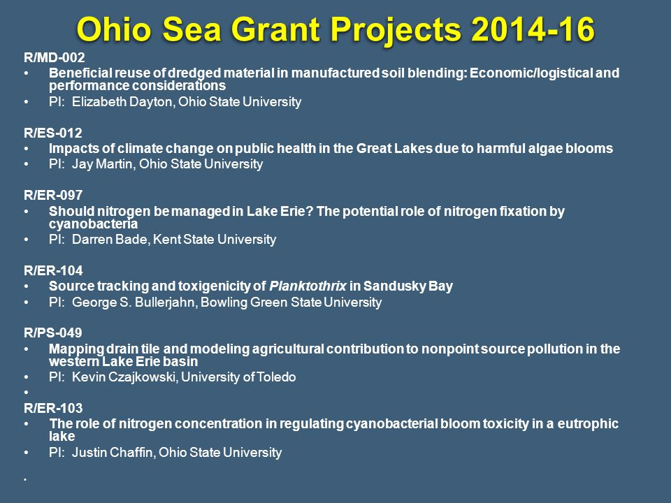 Ohio Sea Grant Projects 2014-16