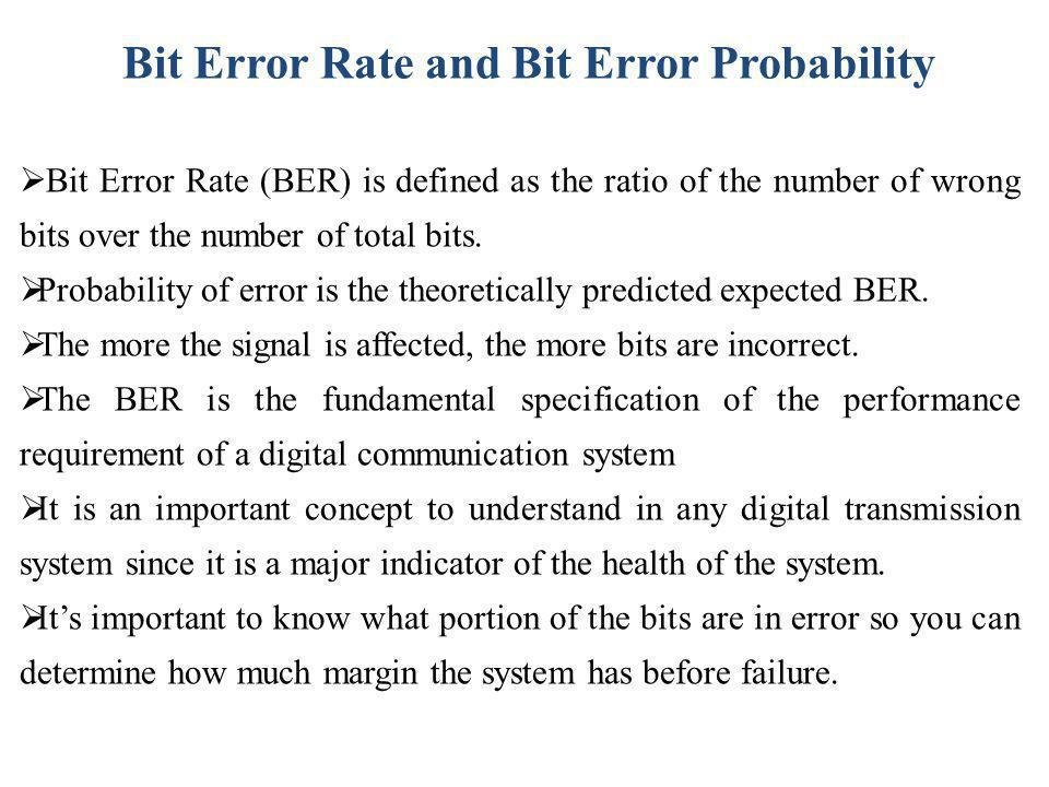 Bit Error Rate and Bit Error Probability