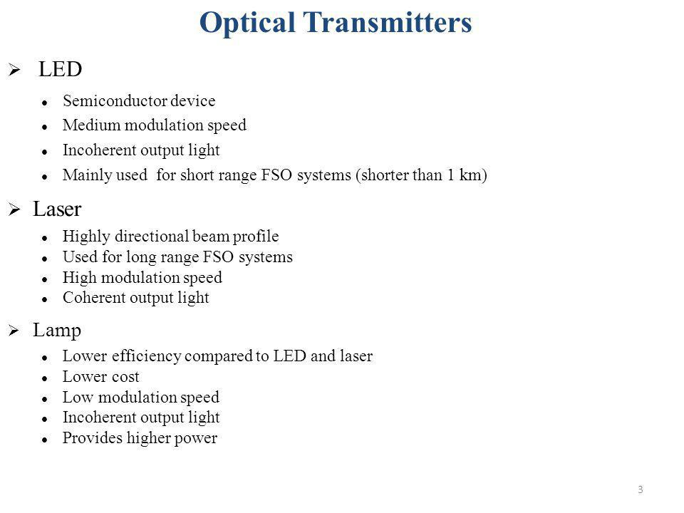 Optical Transmitters LED Laser Lamp Semiconductor device