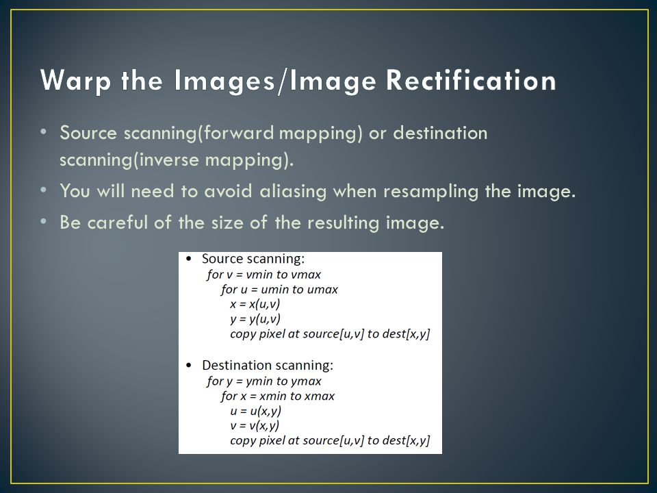 Warp the Images/Image Rectification