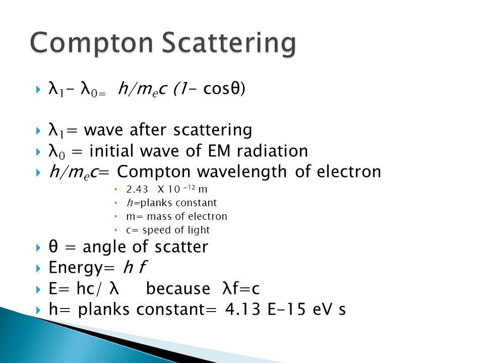 Compton Scattering λ1- λ0= h/mec (1- cosθ) λ1= wave after scattering