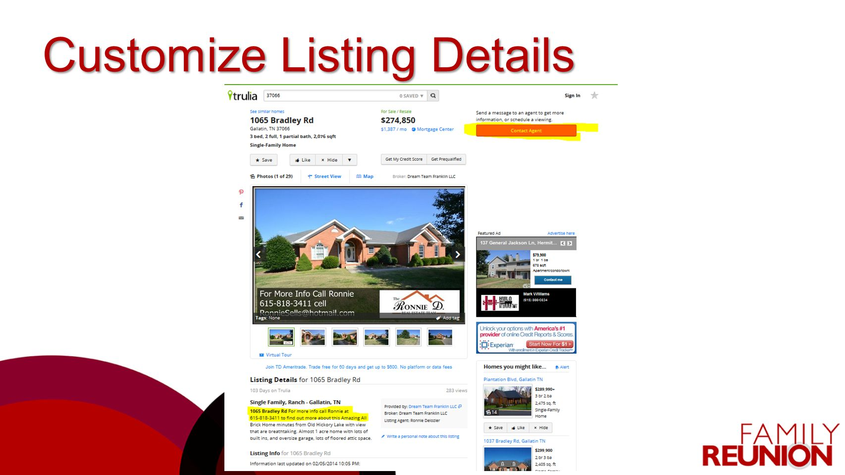 Customize Listing Details