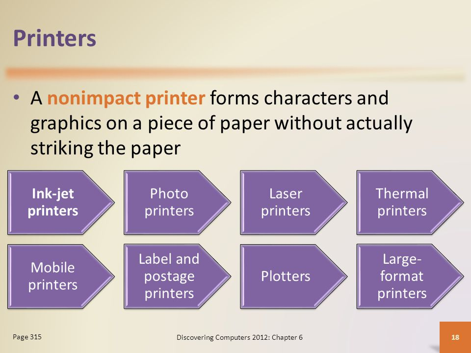 Printers A nonimpact printer forms characters and graphics on a piece of paper without actually striking the paper.
