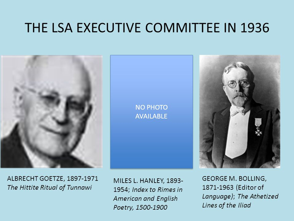 THE LSA EXECUTIVE COMMITTEE IN 1936