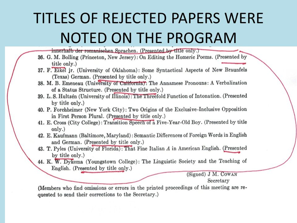 TITLES OF REJECTED PAPERS WERE NOTED ON THE PROGRAM