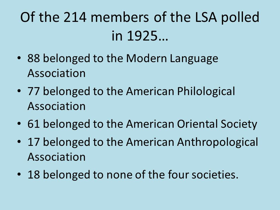 Of the 214 members of the LSA polled in 1925…