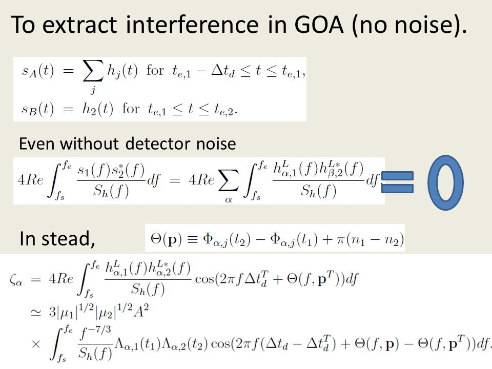 To extract interference in GOA (no noise).