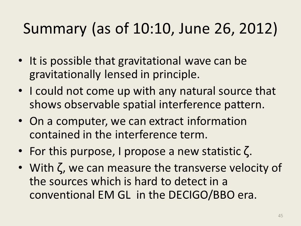 Summary (as of 10:10, June 26, 2012) It is possible that gravitational wave can be gravitationally lensed in principle.