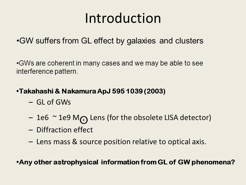 Introduction GW suffers from GL effect by galaxies and clusters