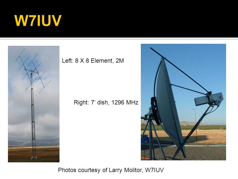 W7IUV Left: 8 X 8 Element, 2M Right: 7' dish, 1296 MHz