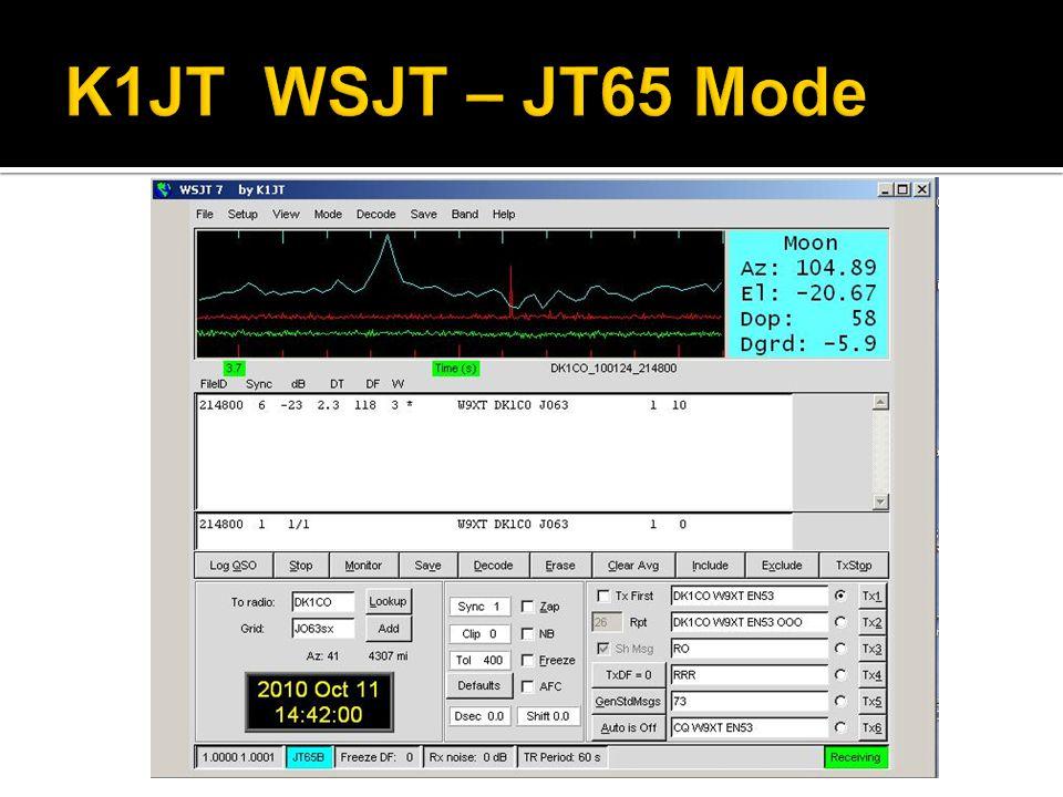 K1JT WSJT – JT65 Mode