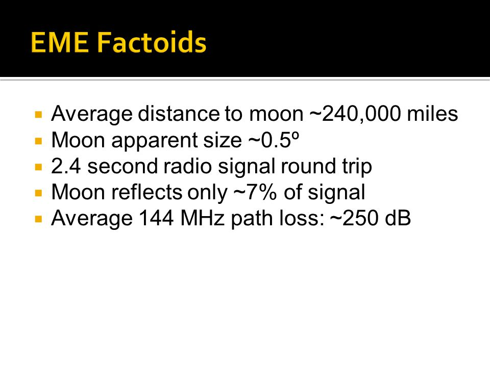 EME Factoids Average distance to moon ~240,000 miles