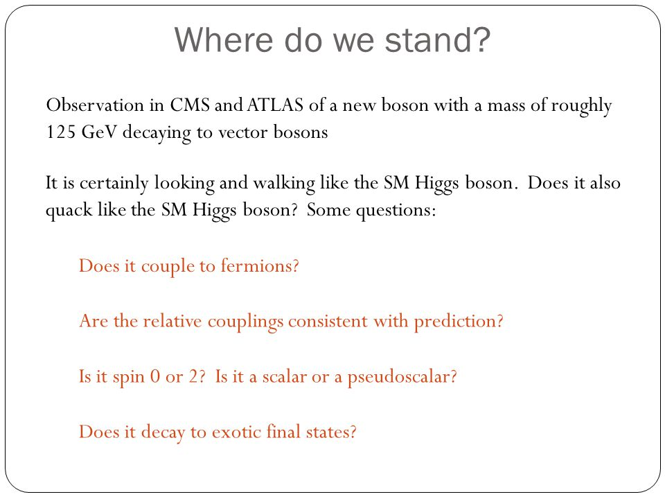 Where do we stand Observation in CMS and ATLAS of a new boson with a mass of roughly 125 GeV decaying to vector bosons.