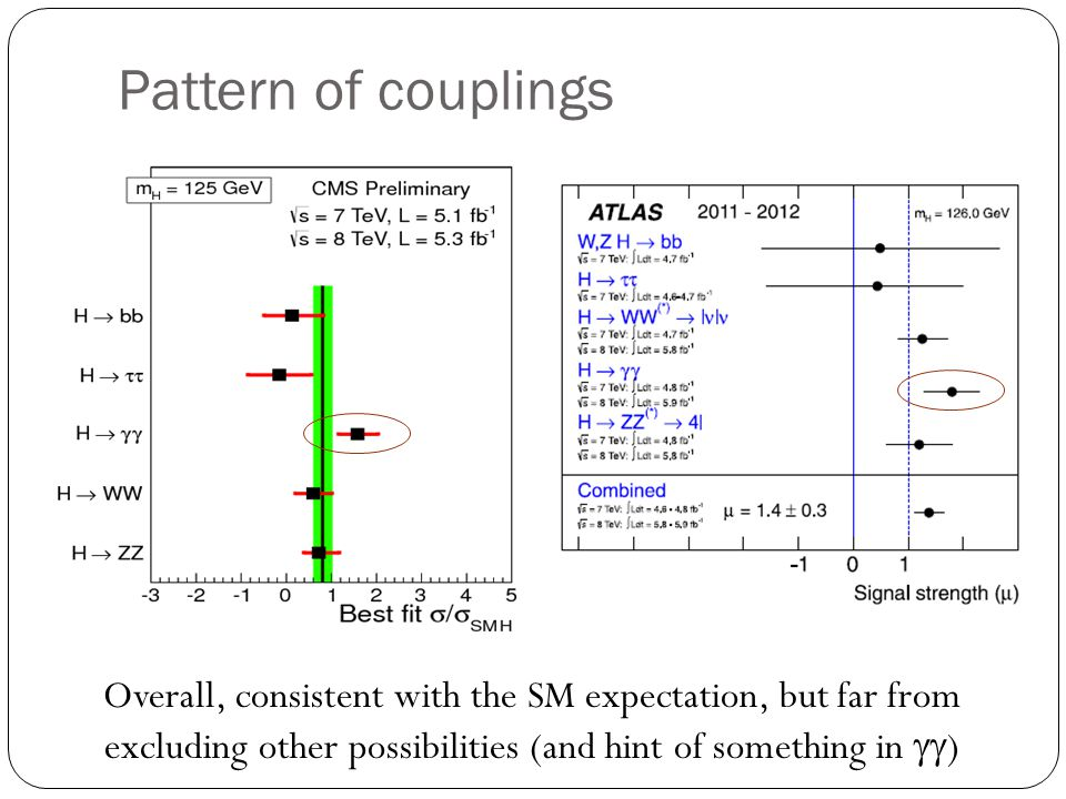 Pattern of couplings Overall, consistent with the SM expectation, but far from excluding other possibilities (and hint of something in gg)