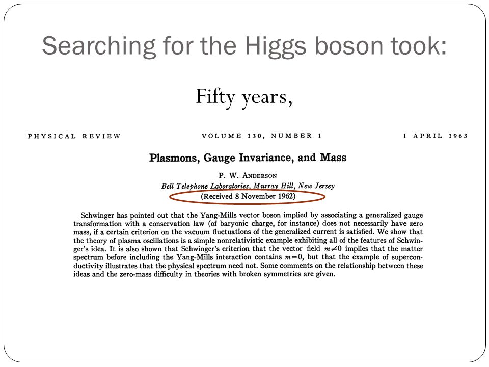 Searching for the Higgs boson took: