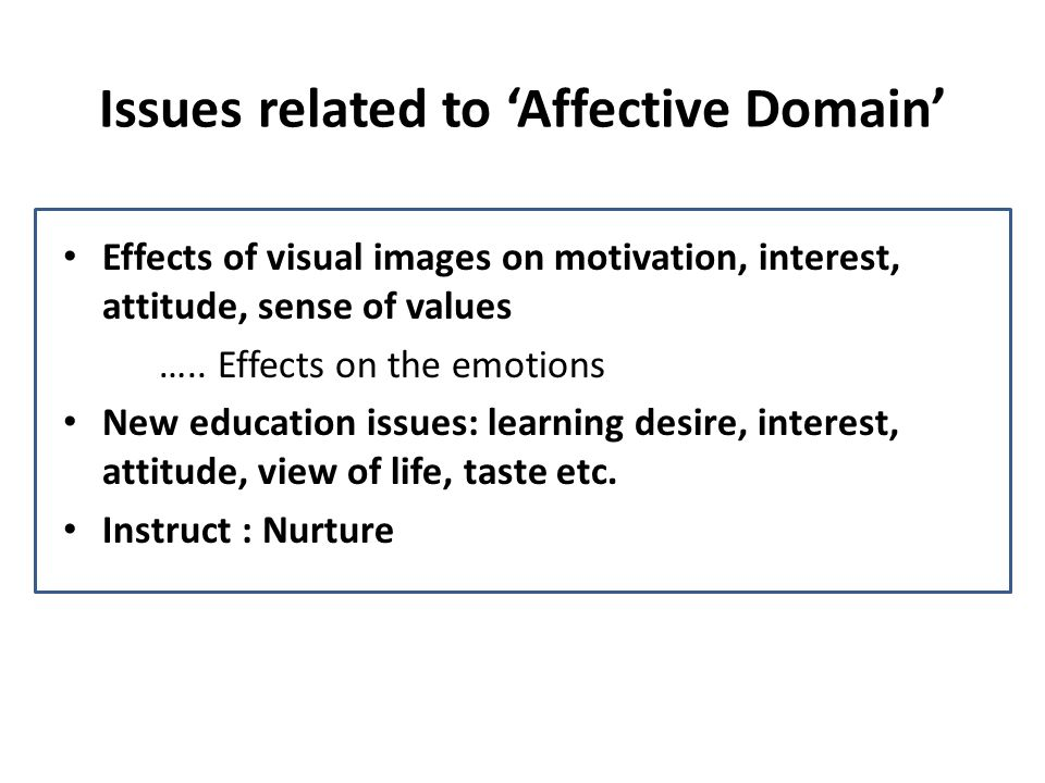 Issues related to 'Affective Domain'