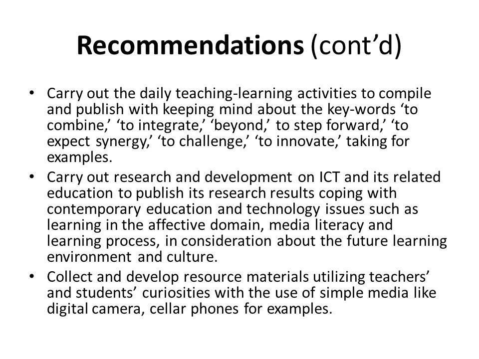 Recommendations (cont'd)
