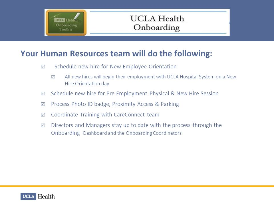 Your Human Resources team will do the following:
