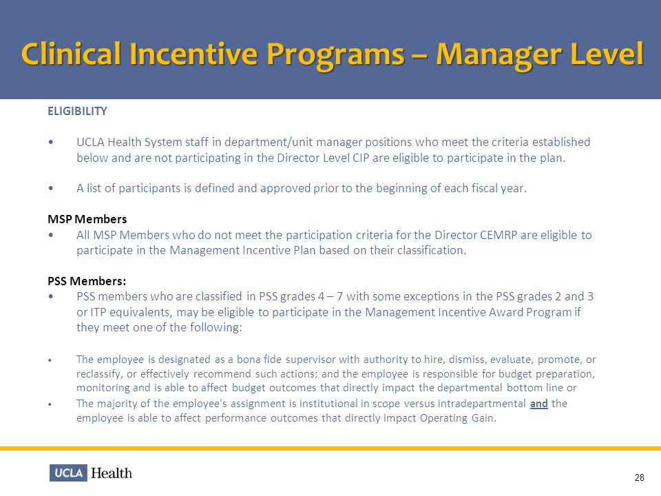 Clinical Incentive Programs – Manager Level