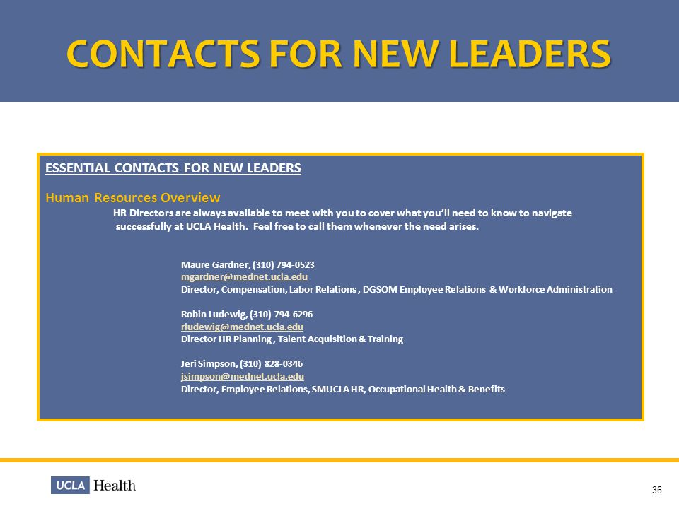 CONTACTS FOR NEW LEADERS
