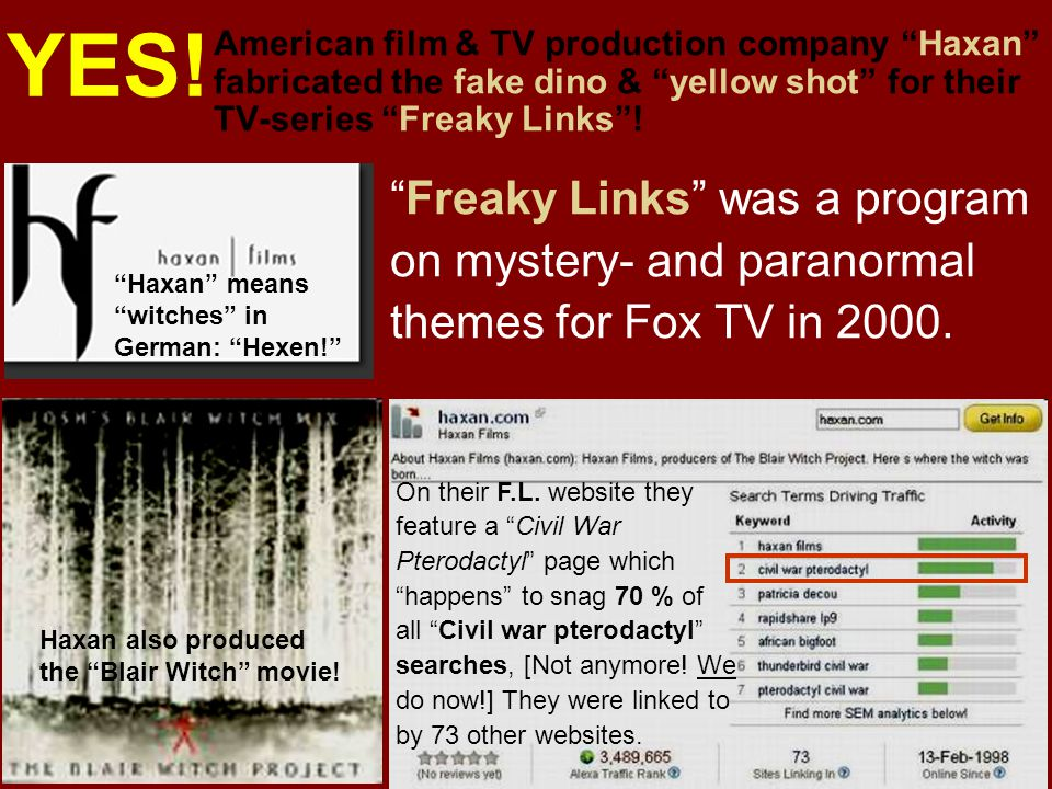 YES! American film & TV production company Haxan fabricated the fake dino & yellow shot for their TV-series Freaky Links !