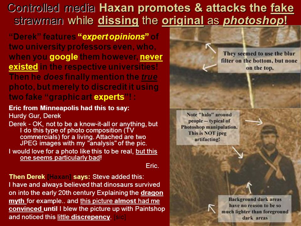 Controlled media Haxan promotes & attacks the fake strawman while dissing the original as photoshop!