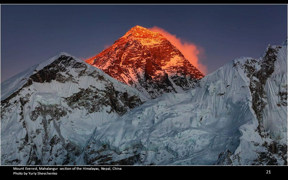 Mount Everest, Mahalangur section of the Himalayas, Nepal, China