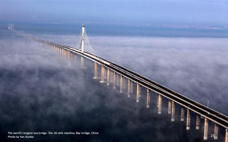 The world s longest sea bridge. The 26-mile Jiaozhou Bay bridge, China